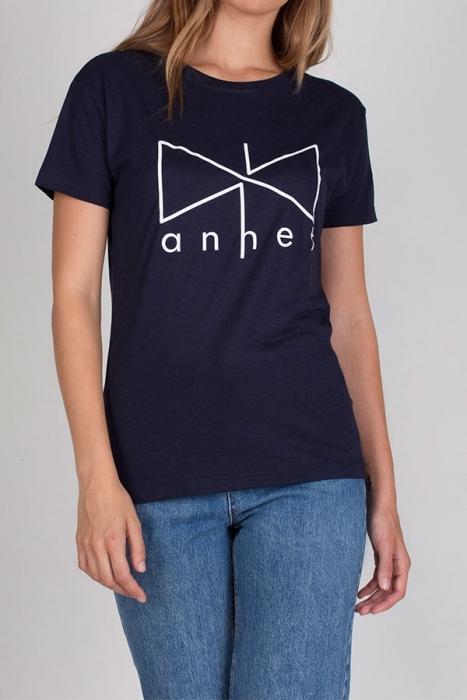 Camiseta azul logotipo