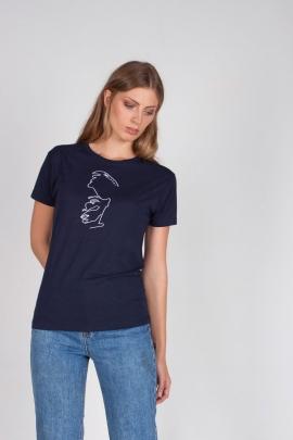 Camiseta azul silueta