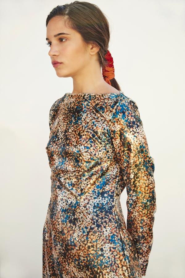 LAMINATED FLOWER DRESS